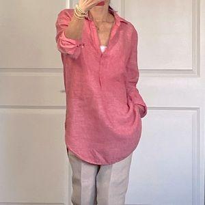 Gap Pop Over 100% Linen Pink Tunic Top size M